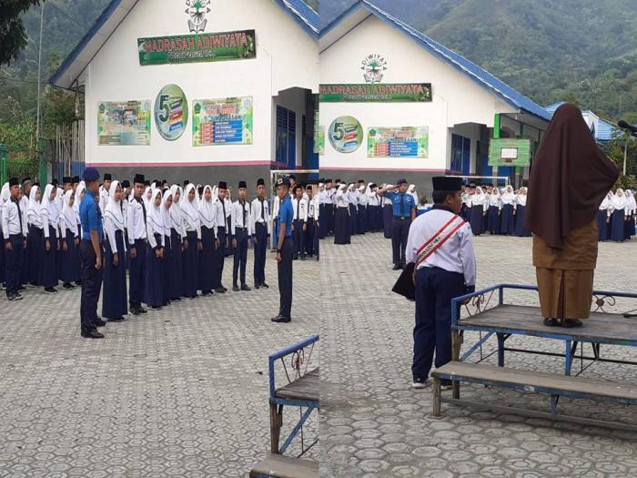 Bangga, Siswa SPAN Padang Bertindak Sebagai Komandan Dan Pemimpin Upacara Di MTsN 6 Kerinci